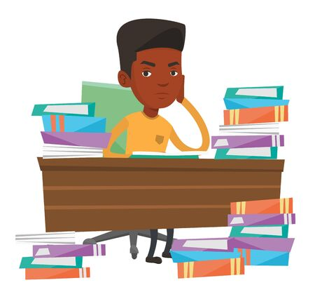 African-american student studying hard before the exam. Young angry student studying with textbooks. Student studying in the library. Vector flat design illustration isolated on white background. Stok Fotoğraf - 83336743