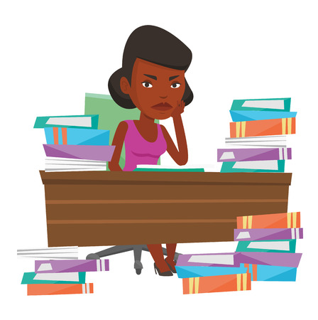 African-american student studying hard before the exam. Young angry student studying with textbooks. Student studying in the library. Vector flat design illustration isolated on white background. Illustration