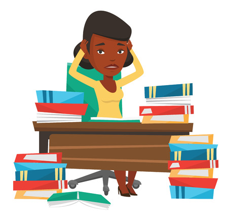 overwhelmed: African-american student studying hard before exam. Stressed student studying with textbooks. Desperate student studying in the library. Vector flat design illustration isolated on white background.