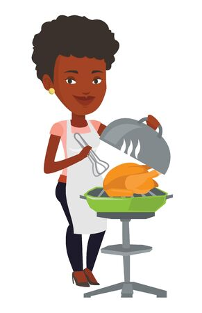 roasted: An african-american woman cooking chicken on barbecue grill. Woman having a barbecue party. Woman preparing chicken on barbecue grill. Vector flat design illustration isolated on white background.