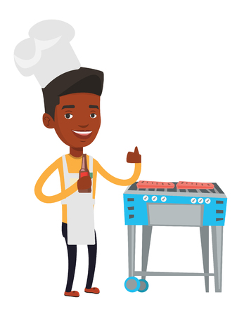 African-american man cooking meat on barbecue grill. Man with bottle in hand cooking meat on gas barbecue grill and giving thumb up. Vector flat design illustration isolated on white background. Illustration