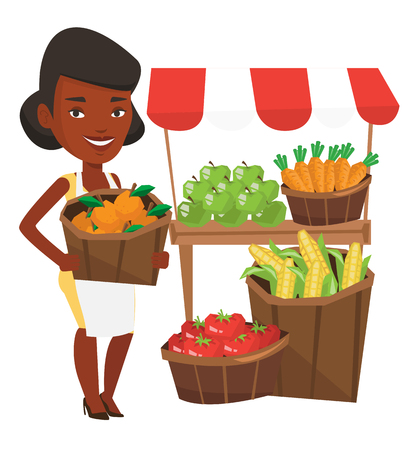 Een Afro-Amerikaanse groenteboer mand met sinaasappels. Groenteboer met mand met fruit. Jong gelukkig groenteboer op het werk. Vector platte ontwerp illustratie op een witte achtergrond. Stock Illustratie