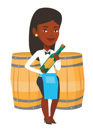 African-american waitress standing with bottle of wine in hands. Waitress holding a bottle of alcohol. Waitress presenting a wine bottle. Vector flat design illustration isolated on white background. Illustration