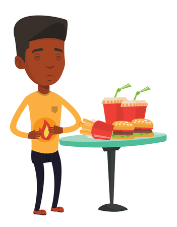 African-american man suffering from heartburn. Young man having stomach ache from heartburn. Man having stomach ache after fast food. Vector flat design illustration isolated on white background.
