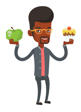 Man holding apple and cupcake in hands. Man choosing between apple and cupcake. Concept of choice between healthy and unhealthy nutrition. Vector flat design illustration isolated on white background.
