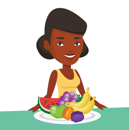 African-american woman with plate full of fruits. Woman standing in front of table full of fresh fruits. Woman eating fresh healthy fruits. Vector flat design illustration isolated on white background Stock Vector - 83336880