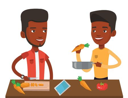 pareja comiendo: African-american men cooking healthy vegetable meal. Men having fun while cooking together healthy meal. Men preparing vegetable meal. Vector flat design illustration isolated on white background. Vectores
