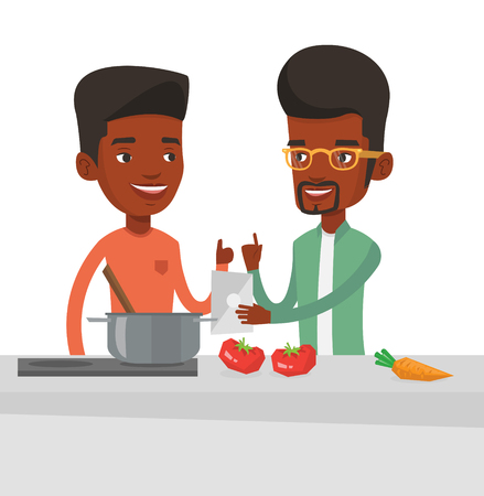 Young african men following recipe for healthy vegetable meal on digital tablet. Men cooking healthy meal. Men having fun cooking together. Vector flat design illustration isolated on white background
