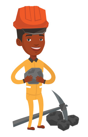 An african-american miner in hard hat holding coal in the hands. Miner with a pickaxe. Young happy miner in helmet working at coal mine. Vector flat design illustration isolated on white background.