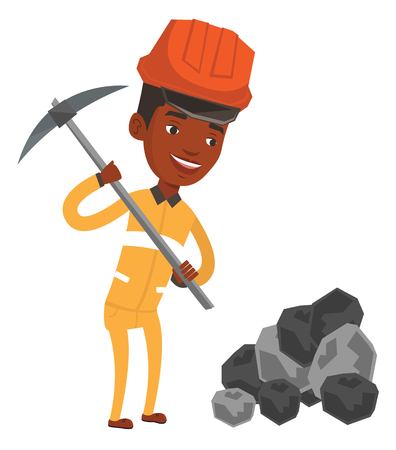 African-american miner in hard hat working with a pickaxe. Smiling miner in helmet working at the coal mine. Young miner at work. Vector flat design illustration isolated on white background. Stock Illustratie