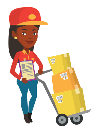 African-american delivery courier with clipboard. Delivery courier pushing cardboard boxes on trolley. Friendly worker of delivery service. Vector flat design illustration isolated on white background Illustration
