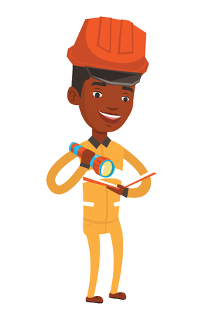An african-american smiling miner checking documents with the flashlight. Mine worker in hard hat. Mine worker at work. Vector flat design illustration isolated on white background.