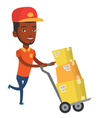 African delivery postman with boxes on trolley. Delivery postman pushing trolley with cardboard boxes. Delivery postman delivering parcels. Vector flat design illustration isolated on white background
