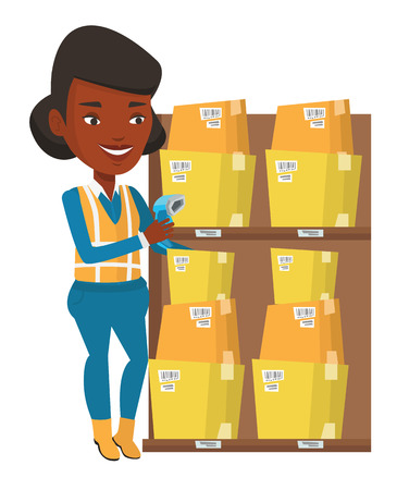 African warehouse worker scanning barcode on box. Warehouse worker checking barcode of box with a scanner. Warehouse worker at work. Vector flat design illustration isolated on white background. Illustration