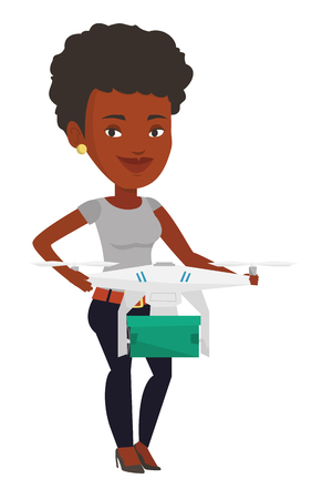 Woman controlling delivery drone with parcel. Woman getting post package from delivery drone. Woman sending parcel with delivery drone. Vector flat design illustration isolated on white background.