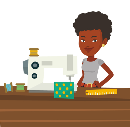 African seamstress working in cloth factory. Seamstress sewing on industrial sewing machine. Seamstress using sewing machine at workshop. Vector flat design illustration isolated on white background.