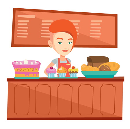 Caucasian female bakery worker offering pastry. Female bakery worker standing behind the counter with cakes. Woman working at the bakery. Vector flat design illustration isolated on white background. Reklamní fotografie - 83337144