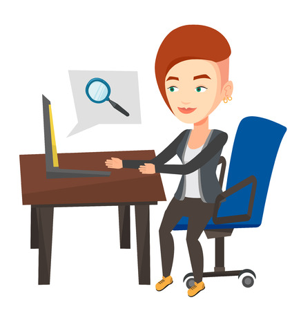 woman laptop: Young caucasian business woman working on a laptop in office and searching information on internet. Internet search and job search concept. Vector flat design illustration isolated on white background