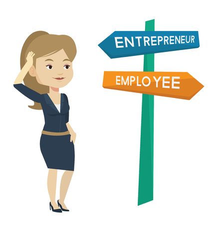 opportunity sign: Caucasian woman standing at road sign with two career pathways - entrepreneur and employee. Young woman making a decision of future career. Vector flat design illustration isolated on white background Illustration