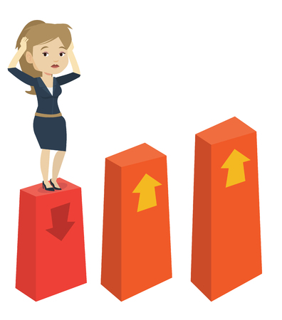 Caucasian frightened bankrupt businesswoman clutching head. Young bankrupt standing on chart going down. Concept of business bankruptcy. Vector flat design illustration isolated on white background.