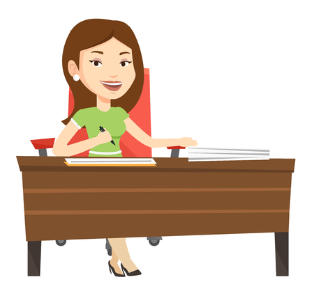 teamwork cartoon: Businesswoman signing contract in office. Woman is about to sign a business contract. Confirmation of transaction by signing of contract. Vector flat design illustration isolated on white background.