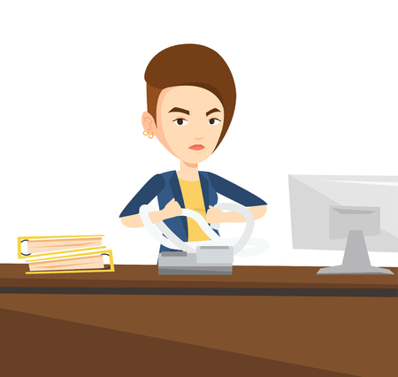 printout: Annoyed caucasian business woman sitting in office and tearing furiously bills. Young angry business woman calculating bills. Vector flat design illustration isolated on white background.