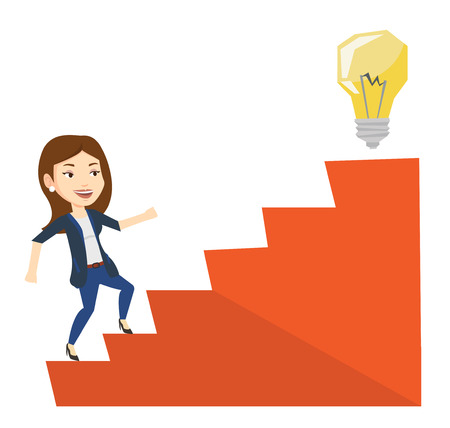 Businesswoman walking upstairs to the idea bulb. Businesswoman running on the stairs to get idea bulb on the top. Business idea concept. Vector flat design illustration isolated on white background