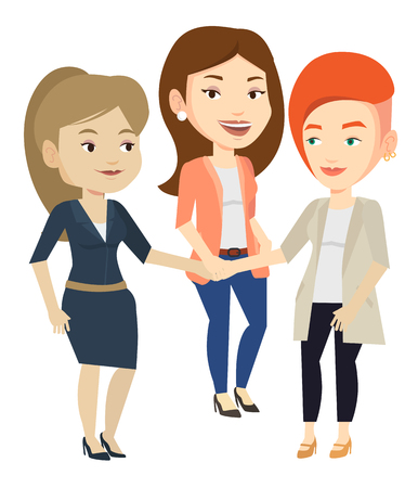 Group of businesswomen joining hands. Businesswomen putting their hands together. Businesswomen stacking their hands. Partnership concept. Vector flat design illustration isolated on white background.