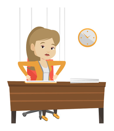 Businesswoman hanging on strings like a marionette. Woman marionette on ropes sitting in office. Emotionless marionette woman working. Vector flat design illustration isolated on white background. Ilustrace