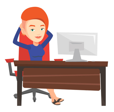 reclining: Satisfied business woman sitting at workplace in office. Successful business woman relaxing in office with her hands clasped behind head. Vector flat design illustration isolated on white background. Illustration