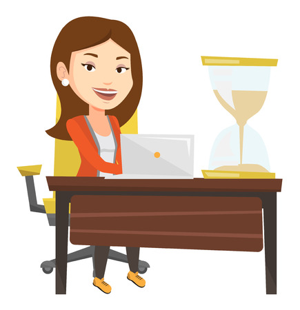 job deadline: Businesswoman sitting at the table with hourglass symbolizing deadline. Businesswoman coping with deadline successfully. Deadline concept. Vector flat design illustration isolated on white background.