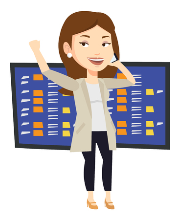 stock quotes: An excited businesswoman talking on mobile phone on the background of display of stock market quotes. Happy stockbroker at stock exchange. Vector flat design illustration isolated on white background.