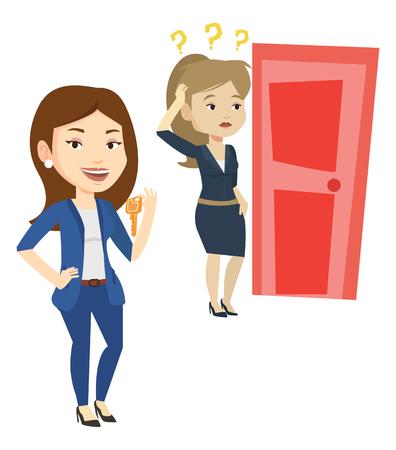 Kaukasische onderneemster die sleutel op de achtergrond van jonge vrouw toont die deur bekijkt. Concept van het maken van de juiste beslissing in het bedrijfsleven. Vector platte ontwerp illustratie op een witte achtergrond.