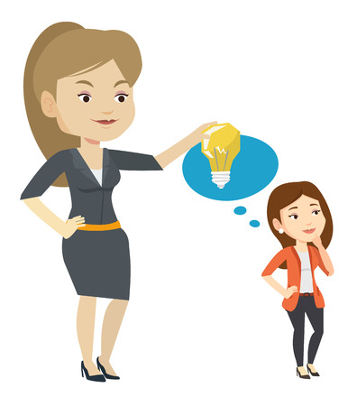 Business woman giving idea to her partner. Young caucasian woman holding idea light bulb over head of her collegue. Business idea concept. Vector flat design illustration isolated on white background. Ilustração