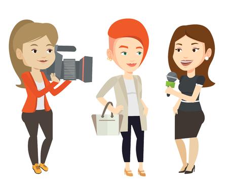 마이크와 백인 리포터 여자를 인터뷰합니다. 여성 연산자 인터뷰 촬영입니다. 기자와 사업가 인터뷰 만들기입니다. 흰색 배경에 고립 된 벡터 평면 디 일러스트