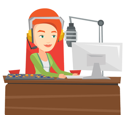 Female dj working in front of microphone, computer and mixing console on radio. Caucasian female dj in headset working on a radio station. Vector flat design illustration isolated on white background.