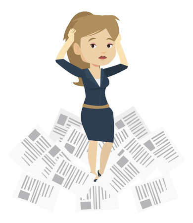 Business woman having a lot of paperwork. Young business woman surrounded by lots of papers. Business woman standing in the heap of papers. Vector flat design illustration isolated on white background