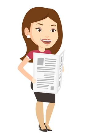 Cheerful caucasian woman reading the newspaper. Young smiling woman reading good news in newspaper. Woman standing with newspaper in hands. Vector flat design illustration isolated on white background Illustration