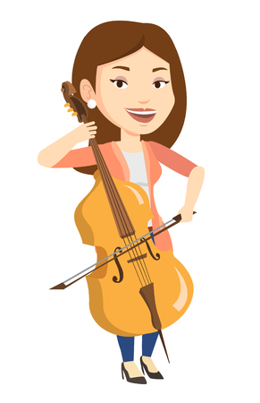 Young happy caucasian musician playing cello. Cellist playing classical music on cello. Young smiling female musician with cello and bow. Vector flat design illustration isolated on white background.