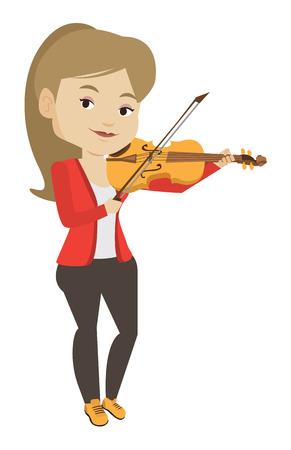 Jong lachend muzikant viool spelen. Vrolijke violist klassieke muziek spelen op viool. Kaukasische musicus die zich met viool bevindt. Vector platte ontwerp illustratie op een witte achtergrond. Stock Illustratie