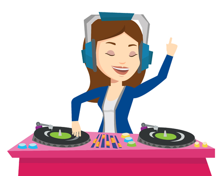 Young female DJ mixing music on turntables. DJ playing and mixing music on deck. Caucasian DJ in headphones at the party in night club. Vector flat design illustration isolated on white background. Illusztráció