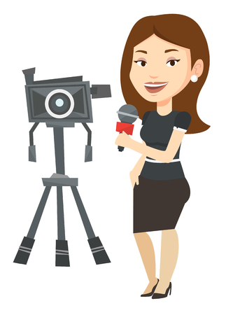 Caucasian reporter with microphone standing on the background with camera. TV reporter presenting the news. TV transmission with reporter. Vector flat design illustration isolated on white background.