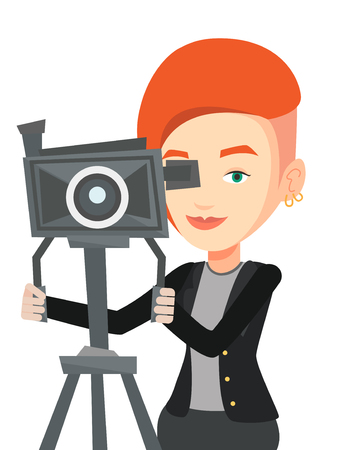 Caucasian cameraman looking through movie camera on a tripod. Cameraman with professional video camera. Female cameraman taking a video. Vector flat design illustration isolated on white background.