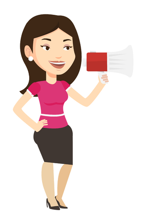 Caucasian woman holding megaphone. Promoter speaking into a megaphone. Woman advertising using megaphone. Social media marketing concept. Vector flat design illustration isolated on white background. Illustration