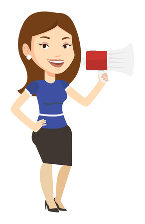 Caucasian woman holding megaphone. Promoter speaking into a megaphone. Woman advertising using megaphone. Social media marketing concept. Vector flat design illustration isolated on white background. Ilustração