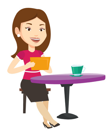 Woman using a tablet computer in a cafe. Woman surfing in the social network. Woman rewriting in social network. Social network concept. Vector flat design illustration isolated on white background.  イラスト・ベクター素材