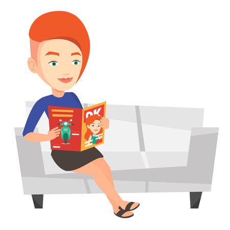 Caucasian woman reading a magazine. Relaxed woman sitting on sofa and reading magazine. Woman sitting on the couch with magazine in hands. Vector flat design illustration isolated on white background. Illustration