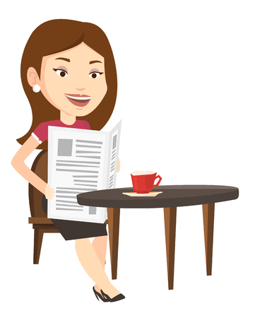 Caucasian woman reading newspaper in a cafe. Girl reading the news in newspaper. Woman sitting with newspaper in hands and drinking coffee. Vector flat design illustration isolated on white background