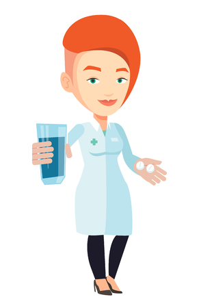 Caucasian pharmacist holding a glass of water and pills in hands. Smiling female pharmacist in medical gown. Pharmacist giving medication. Vector flat design illustration isolated on white background. Illustration