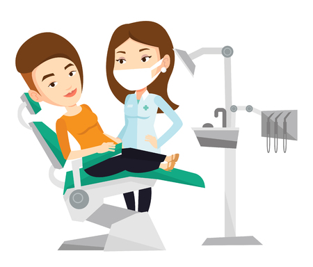 Woman sitting in dental chair while dentist standing nearby. Doctor and patient in the dental clinic. Patient on reception at the dentist. Vector flat design illustration isolated on white background.
